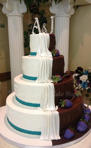 Half White And Chocolate Wedding Cake